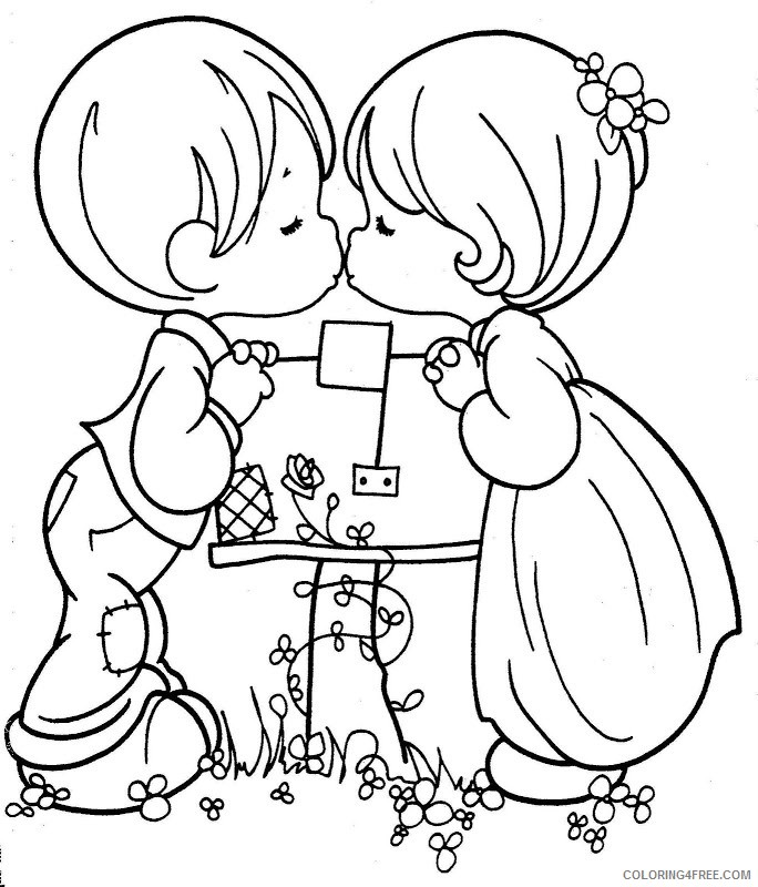 precious moments coloring pages love kiss Coloring4free