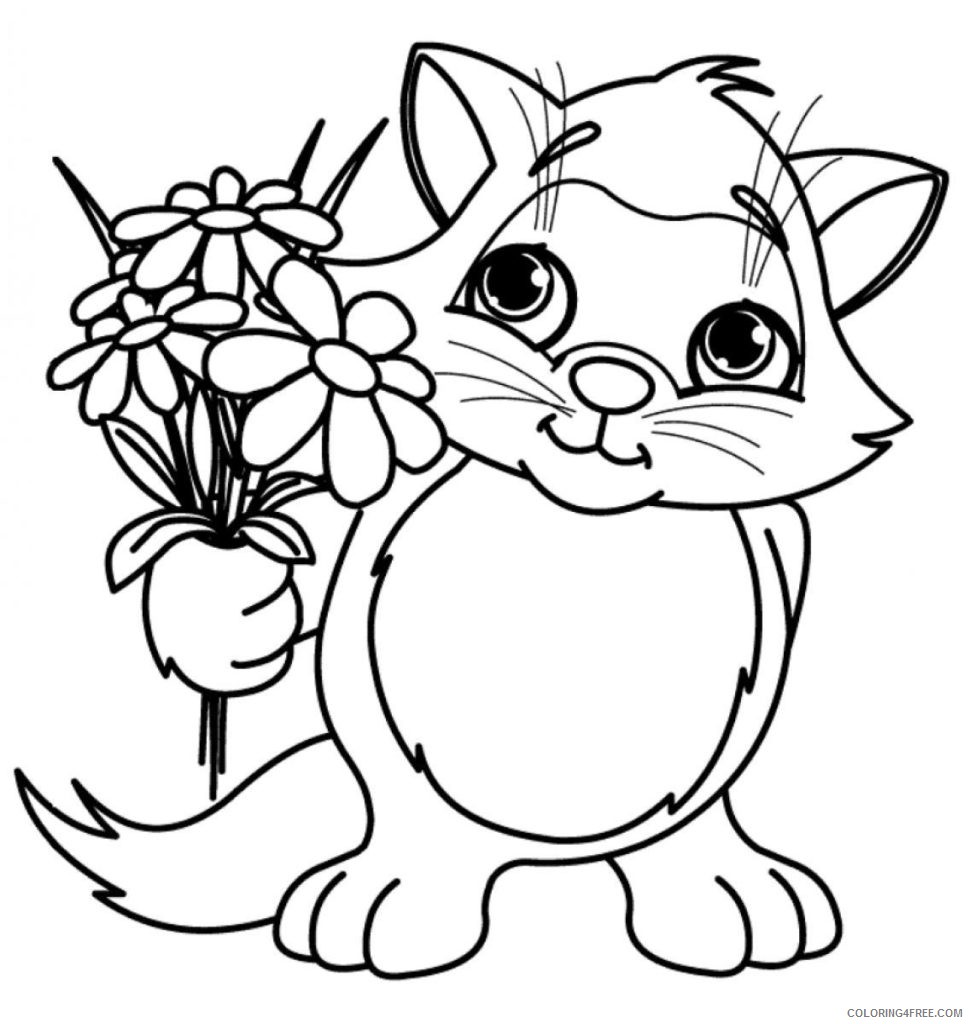 pretty coloring pages cat holding flower Coloring4free