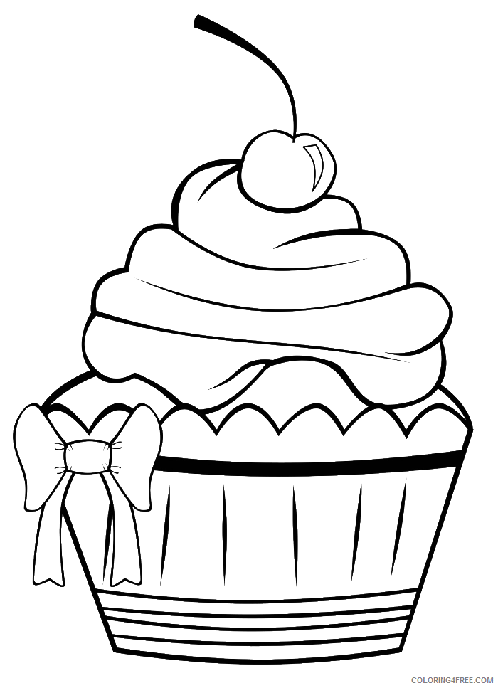 pretty coloring pages cupcake Coloring4free
