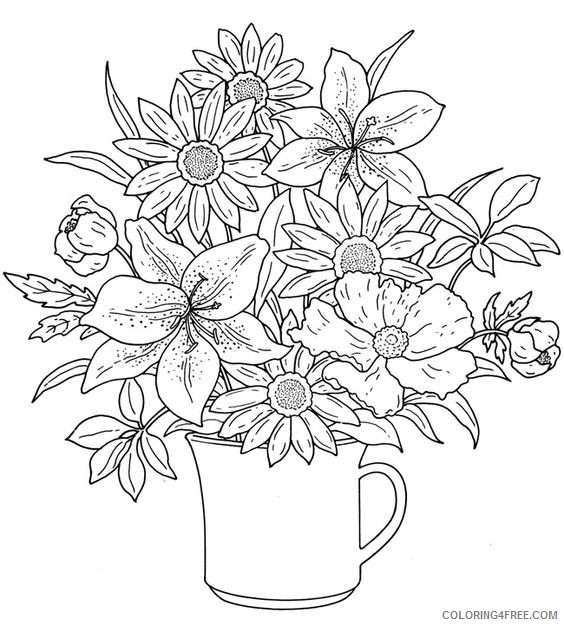 pretty coloring pages of flowers Coloring4free