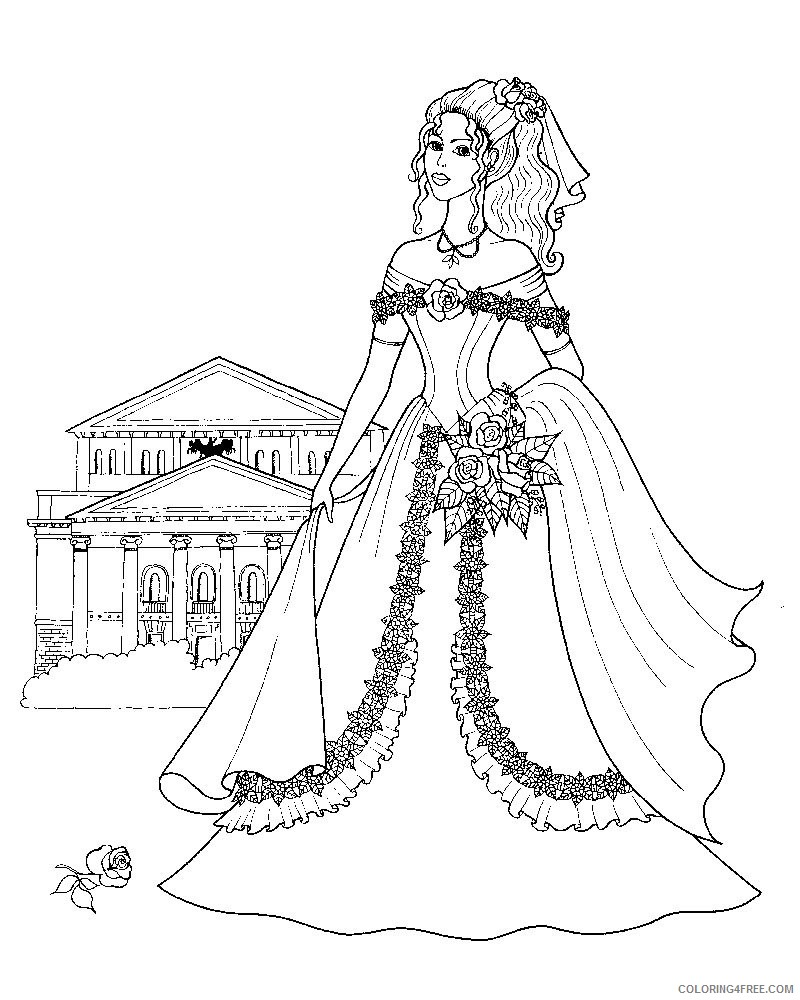 pretty coloring pages princess Coloring4free