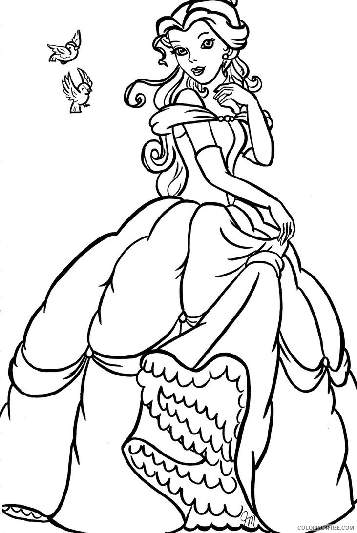 princess belle coloring pages beautiful Coloring4free