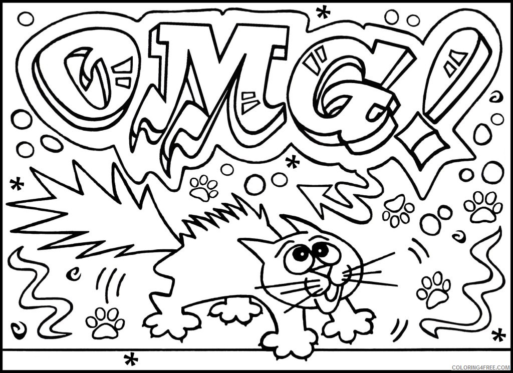 printable graffiti coloring pages for kids Coloring4free