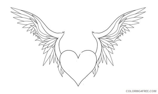 printable heart with wings coloring pages Coloring4free