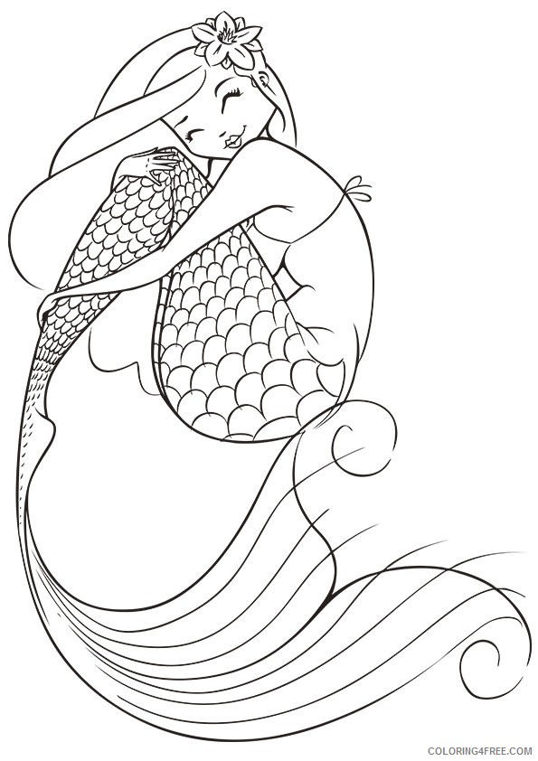 printable mermaid coloring pages for kids Coloring4free