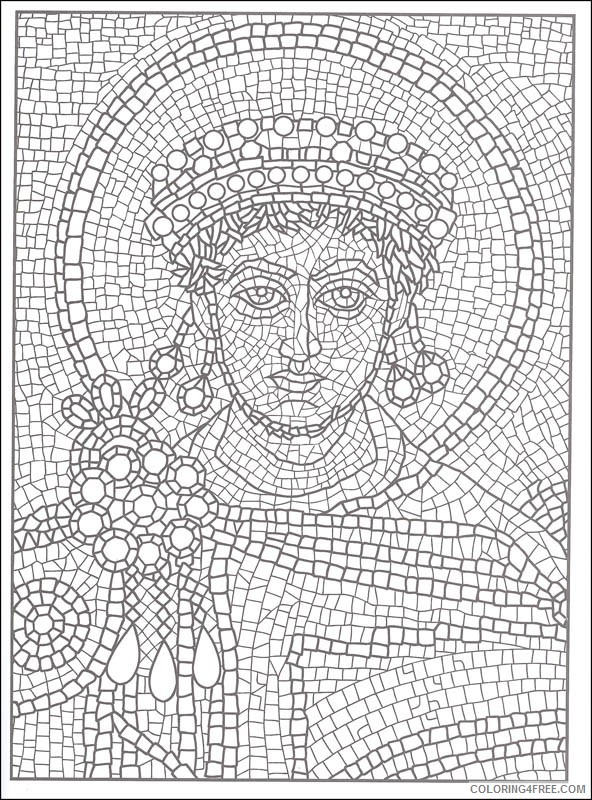 printable mosaic coloring pages for adults Coloring4free