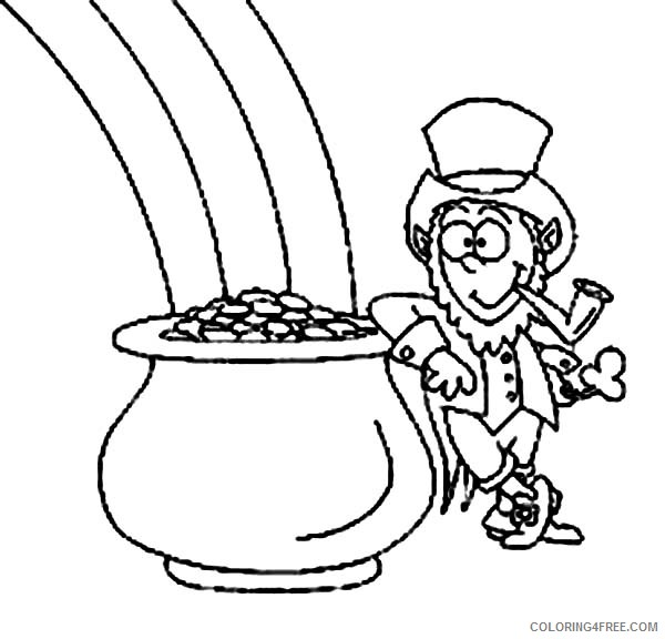 printable rainbow and pot of gold coloring pages Coloring4free