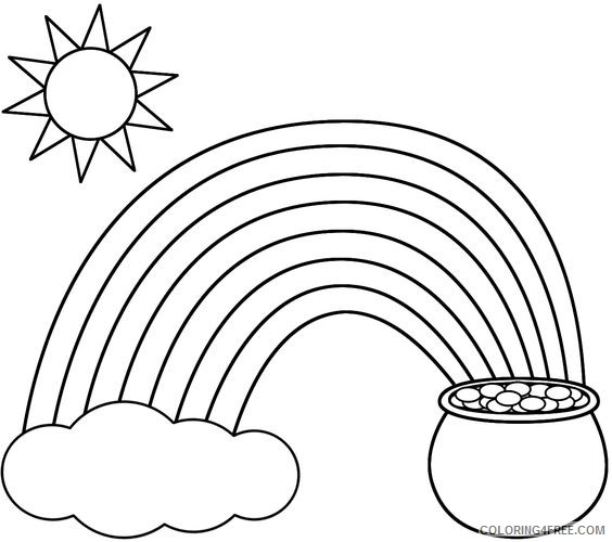 printable rainbow and pot of gold coloring pages for kids Coloring4free