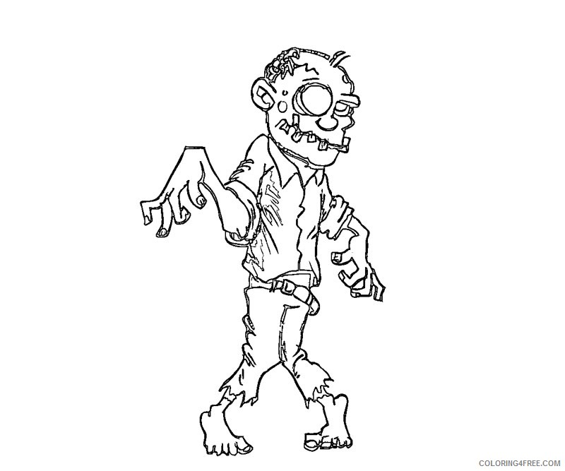 printable zombie coloring pages for kids Coloring4free