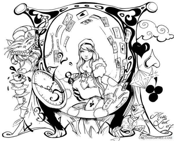 psychedelic coloring pages alice in wonderland Coloring4free