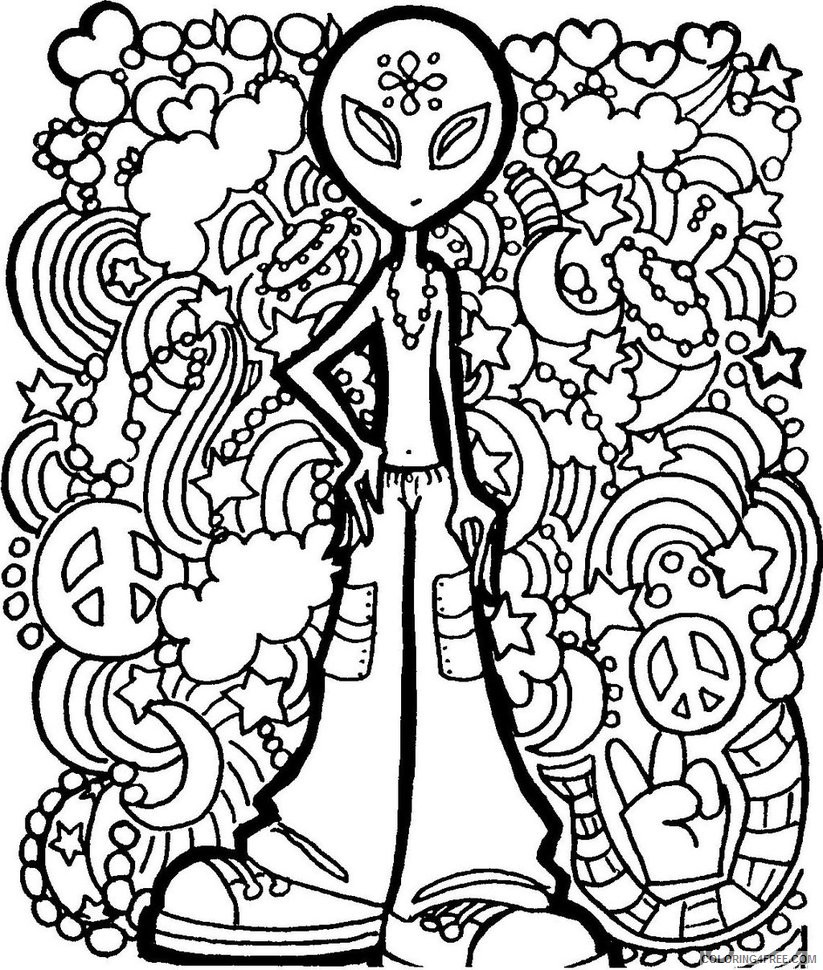 psychedelic coloring pages alien Coloring4free