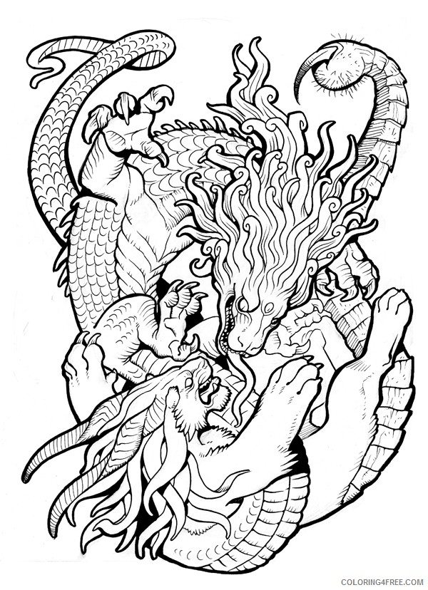 psychedelic coloring pages dragon and lion Coloring4free