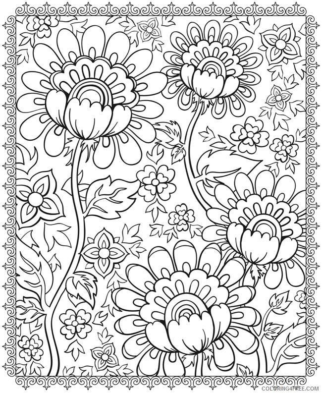 psychedelic coloring pages flowers Coloring4free