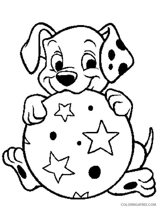 puppies coloring pages dalmatian playing ball Coloring4free