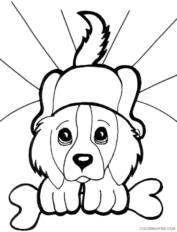 puppies coloring pages holding a bone Coloring4free