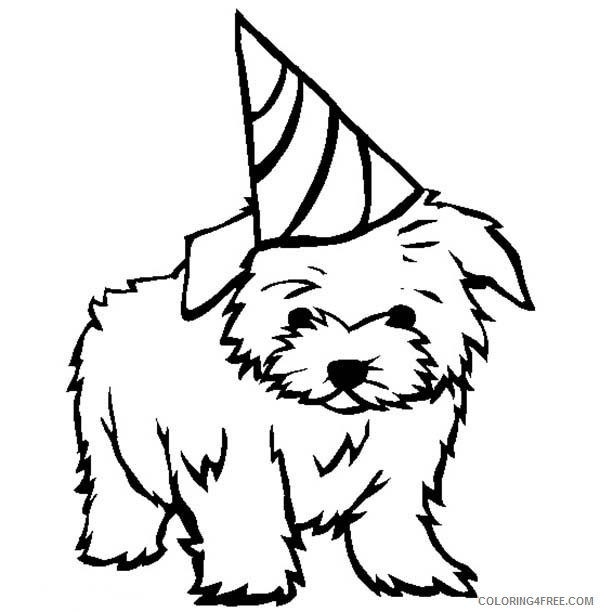 puppies coloring pages wearing birthday hat Coloring4free