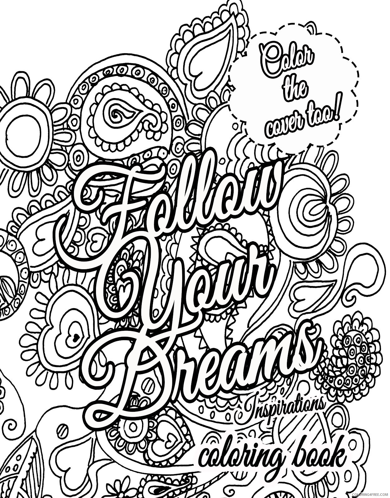 quote coloring pages about dream for adults Coloring4free