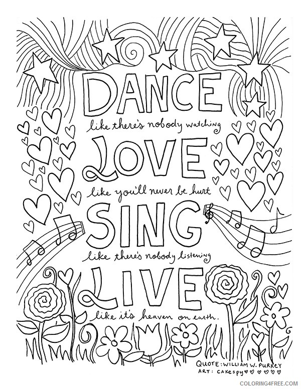 quote coloring pages about love and live Coloring4free