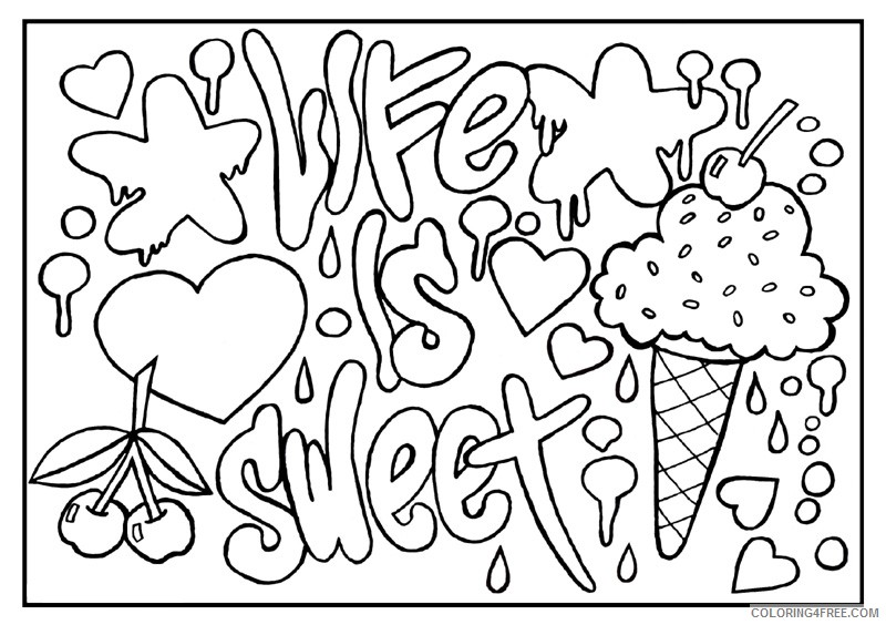 quote coloring pages life is sweet Coloring4free
