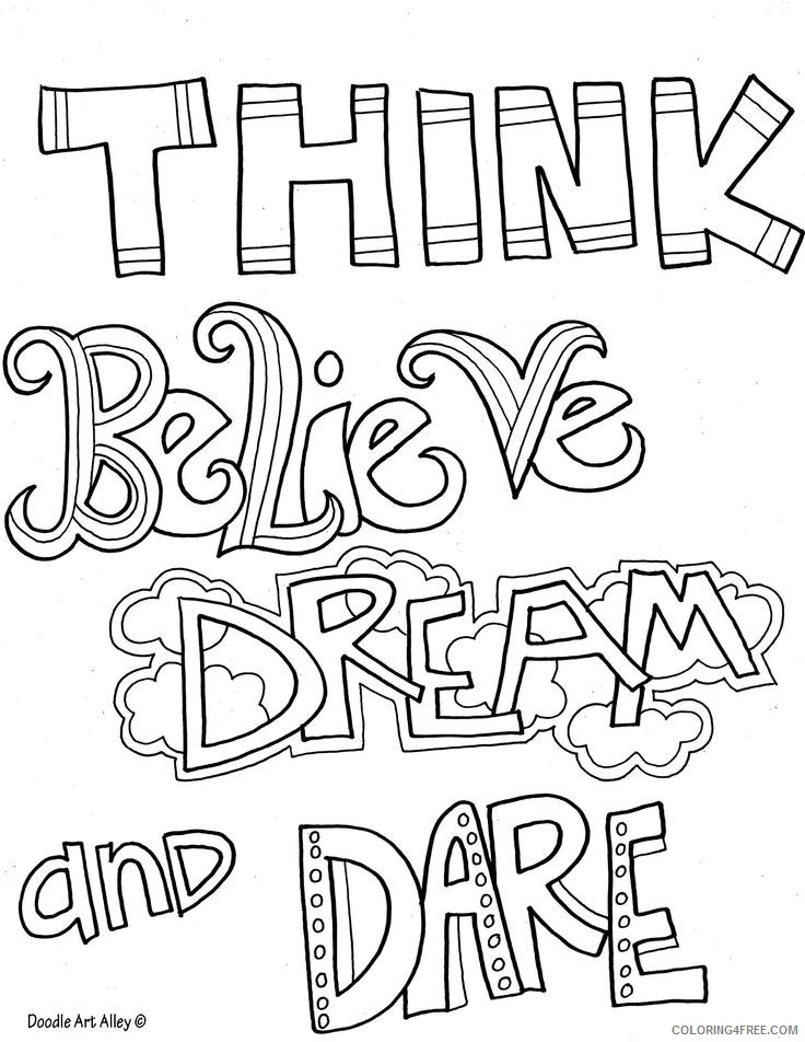 quote coloring pages of think believe and dream Coloring4free