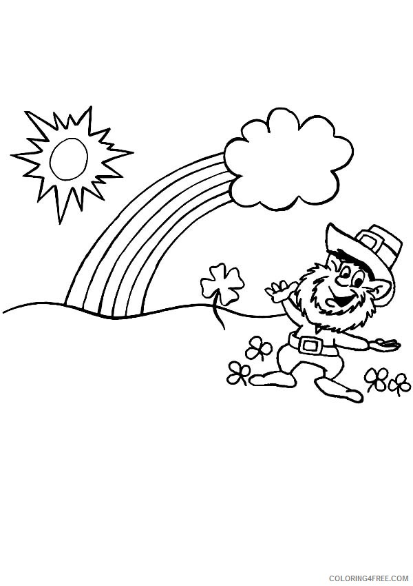 rainbow and pot of gold coloring pages and leprechaun Coloring4free