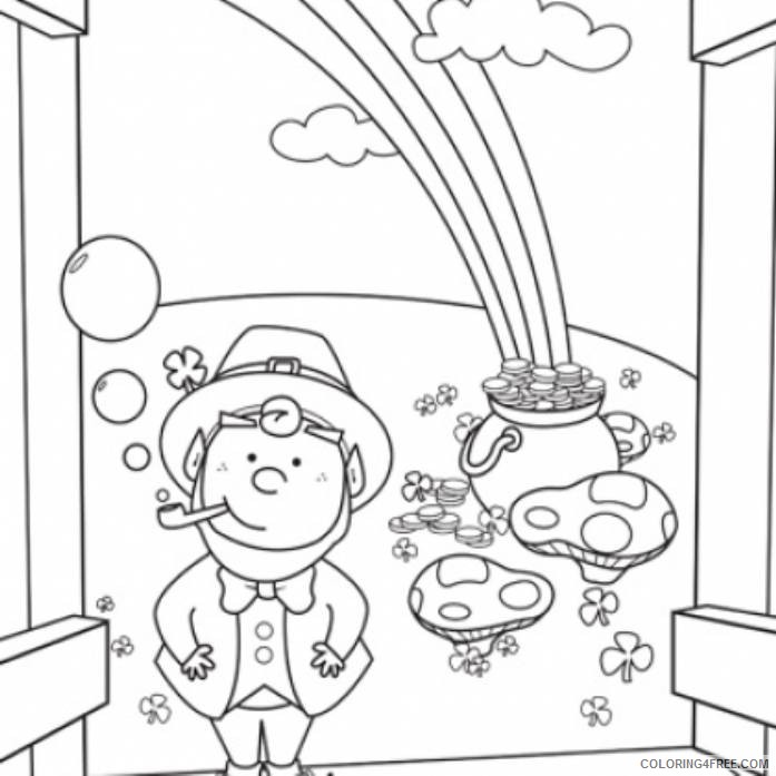 rainbow and pot of gold coloring pages for kids printable Coloring4free