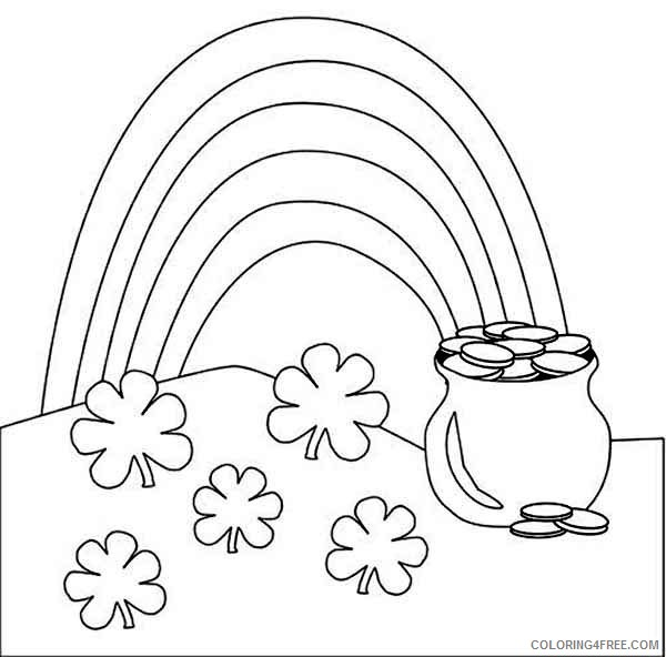 rainbow and pot of gold coloring pages four leaf clover Coloring4free