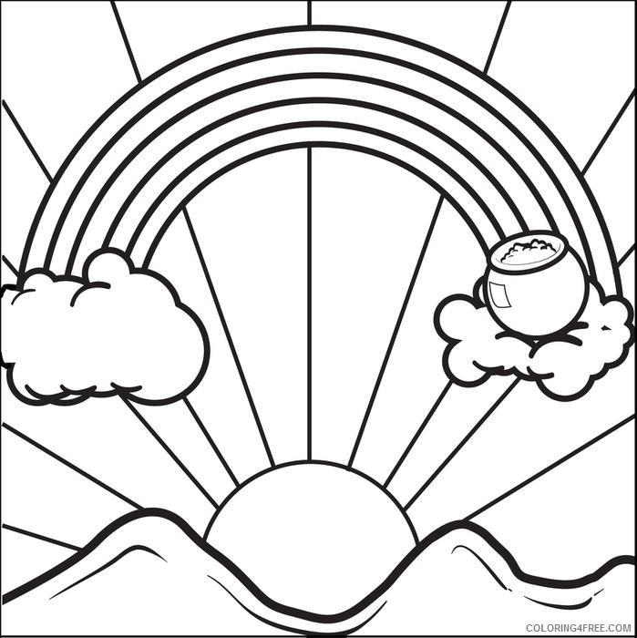 rainbow and pot of gold coloring pages sunrise Coloring4free