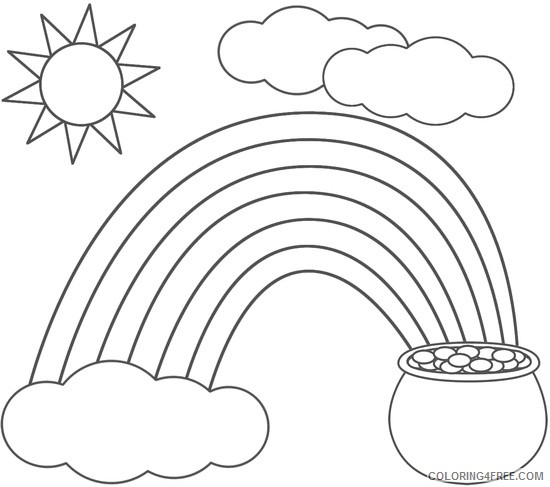 rainbow and pot of gold coloring pages with sun and clouds Coloring4free