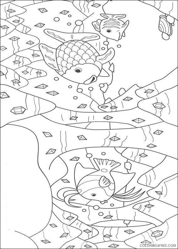rainbow fish coloring pages diamonds in the deep ocean Coloring4free