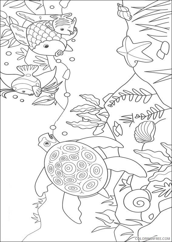 rainbow fish coloring pages sea turtle starfish Coloring4free