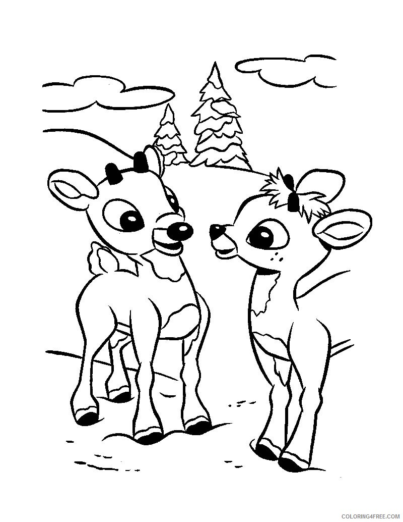 reindeer coloring pages couple Coloring4free