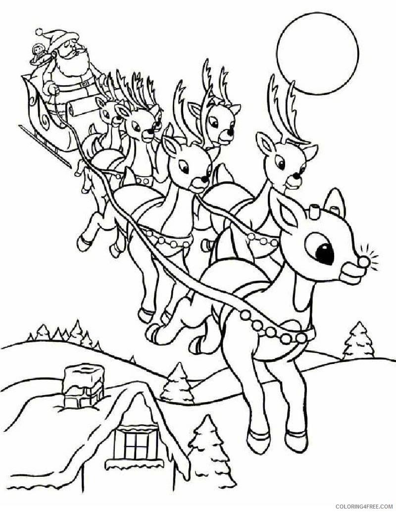 reindeer coloring pages flying reindeer Coloring4free