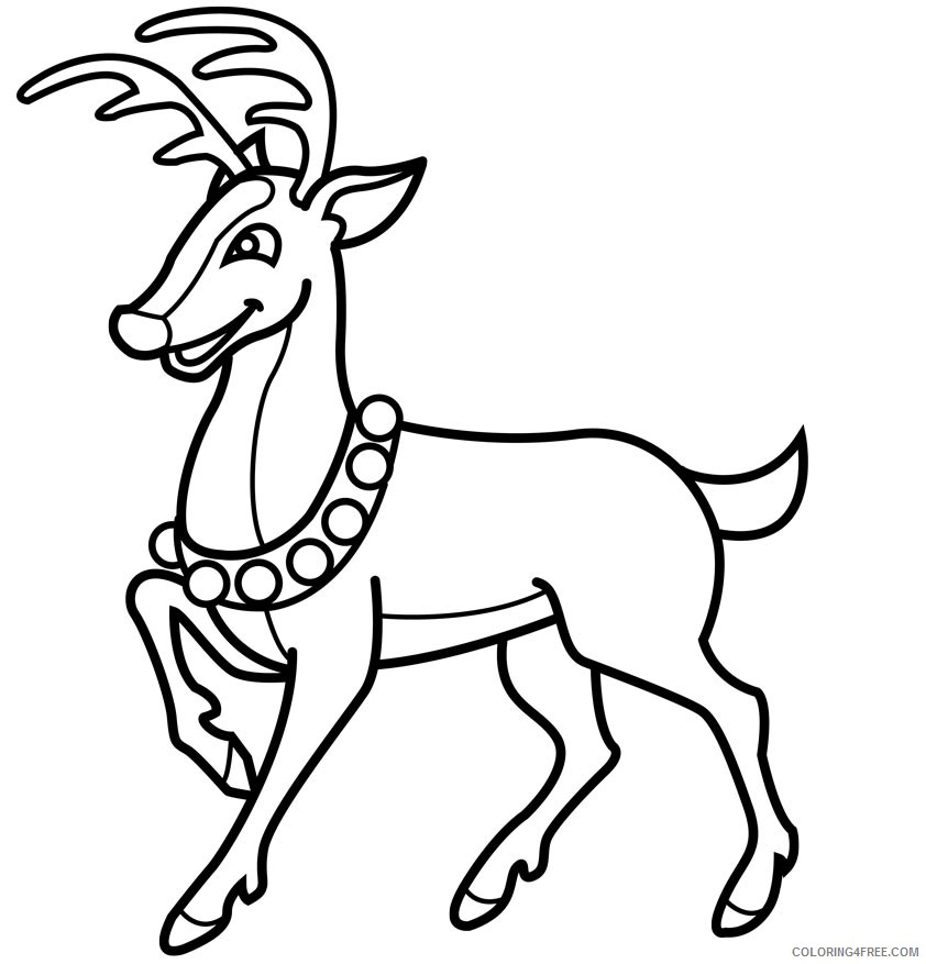 reindeer coloring pages wearing necklace Coloring4free