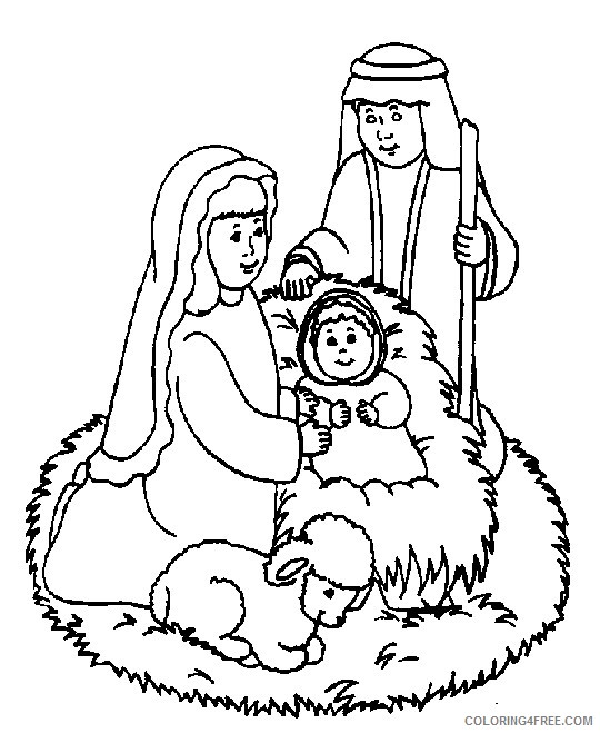 religious coloring pages birth of jesus Coloring4free