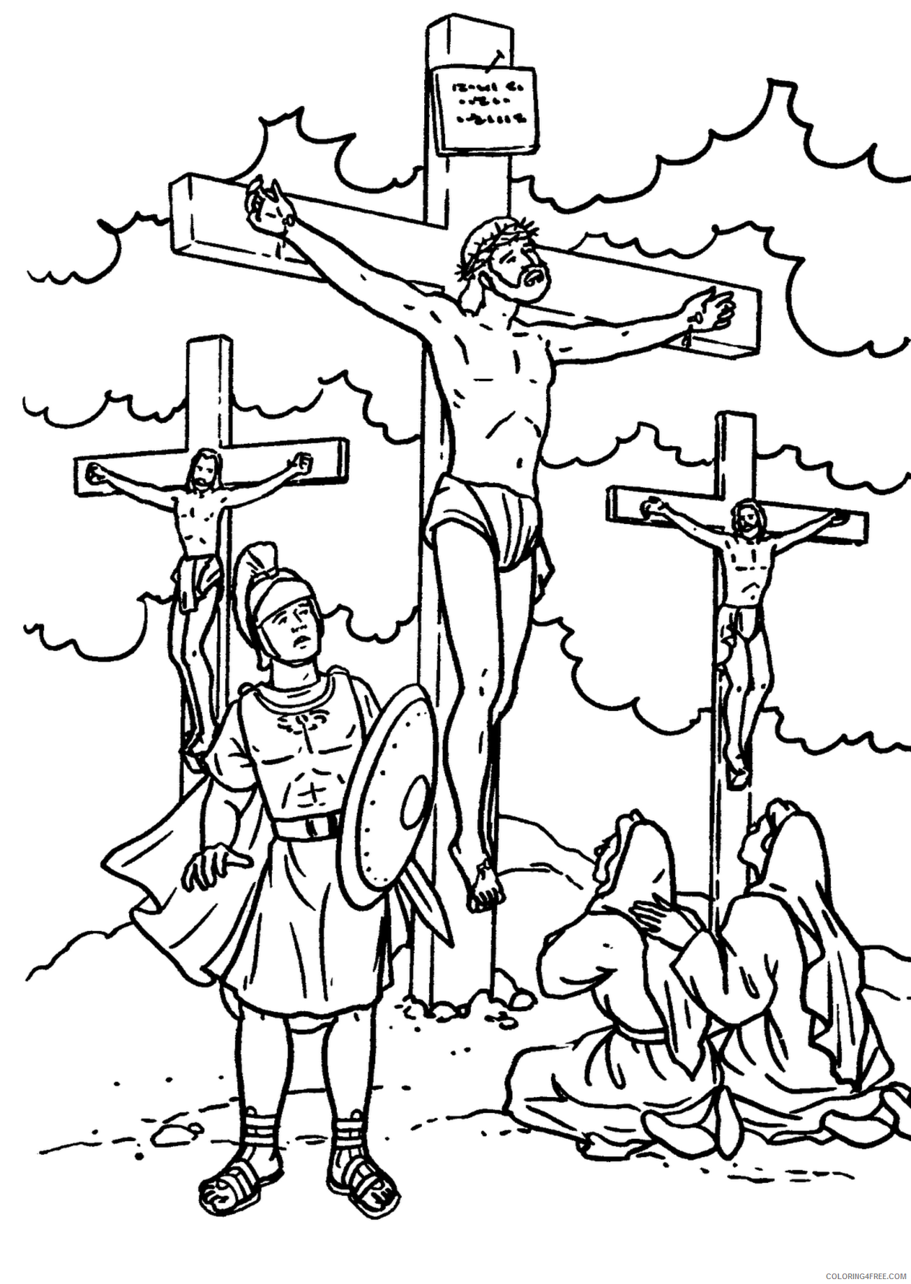 religious coloring pages cross of jesus Coloring4free