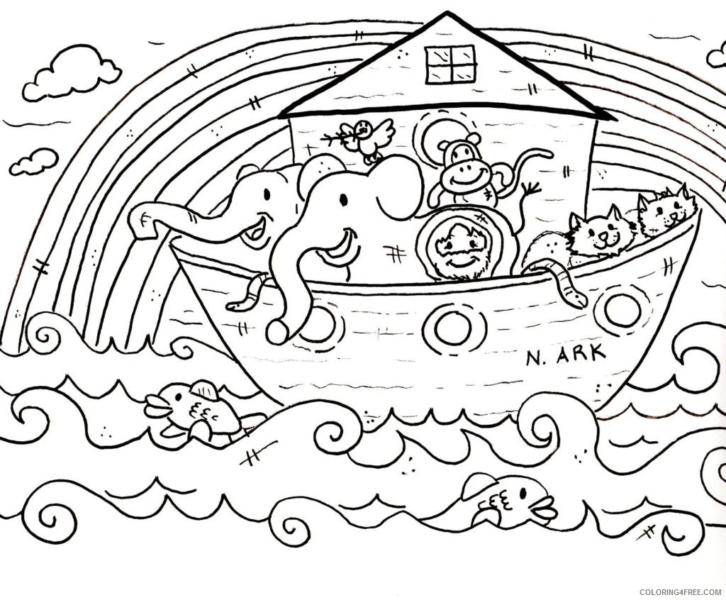 religious coloring pages noahs ark Coloring4free