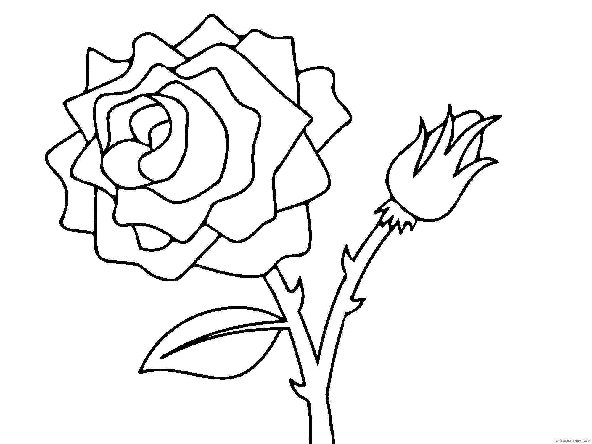 rose coloring pages free to print Coloring4free
