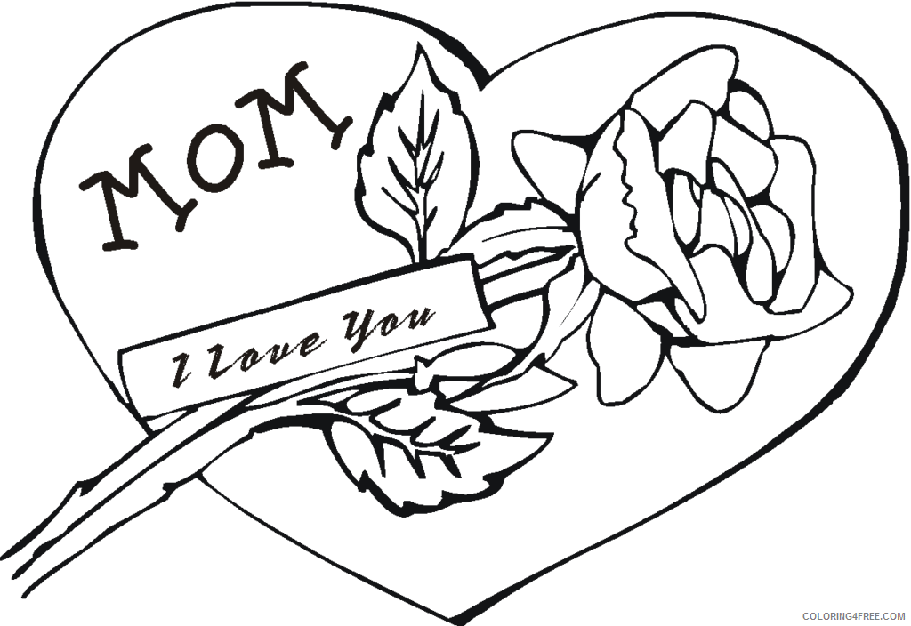 rose coloring pages love for mom Coloring4free