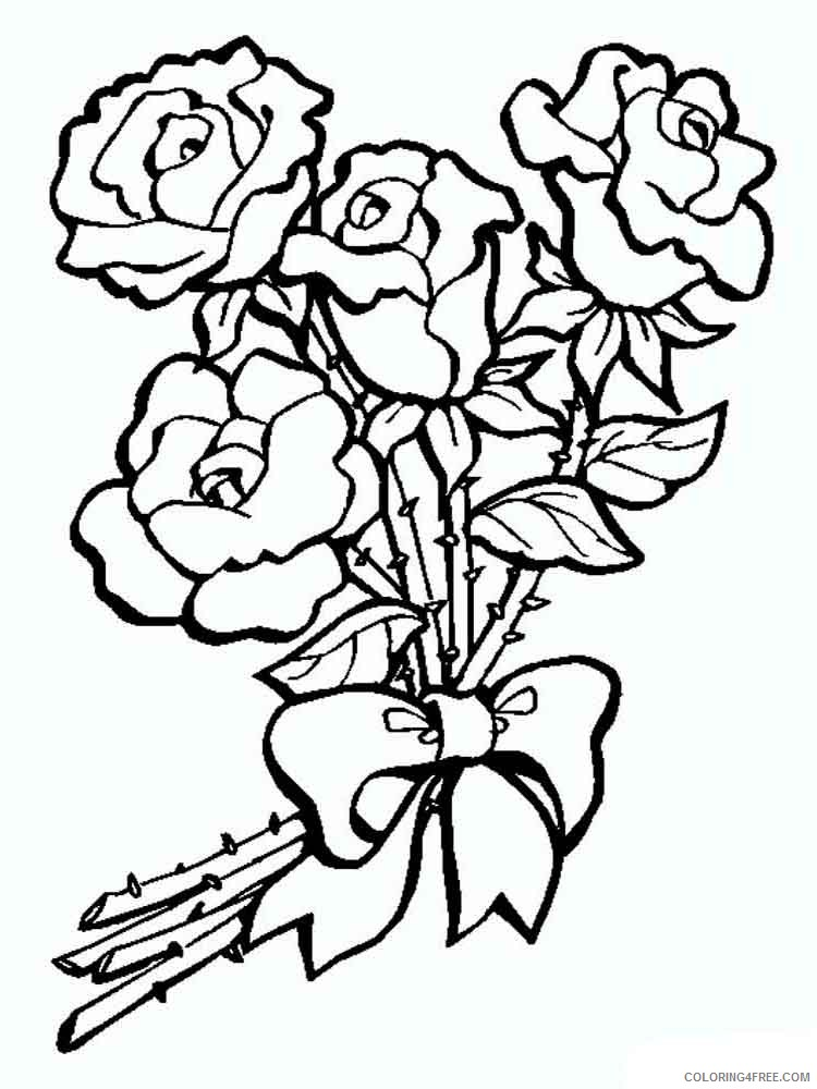 rose coloring pages roses bouquet Coloring4free