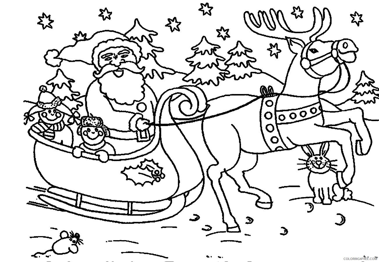 santa claus coloring pages christmas sleigh reindeer Coloring4free