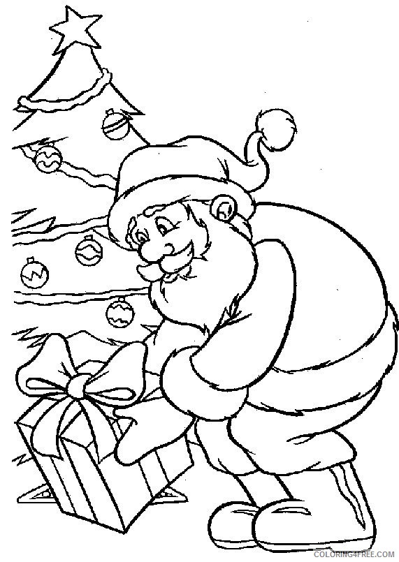 santa claus coloring pages christmas tree and gift Coloring4free