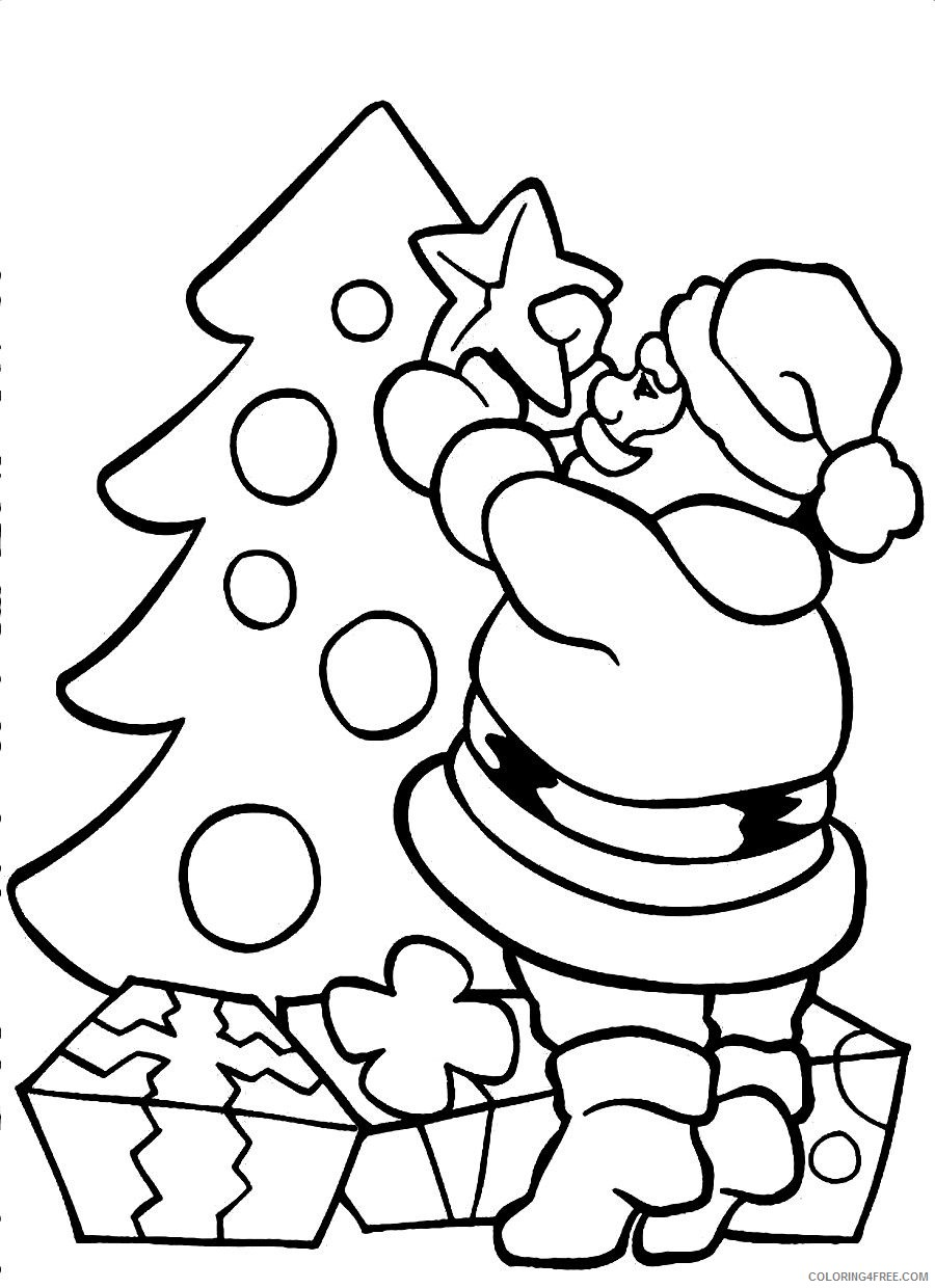 santa claus coloring pages decorating christmas tree Coloring4free