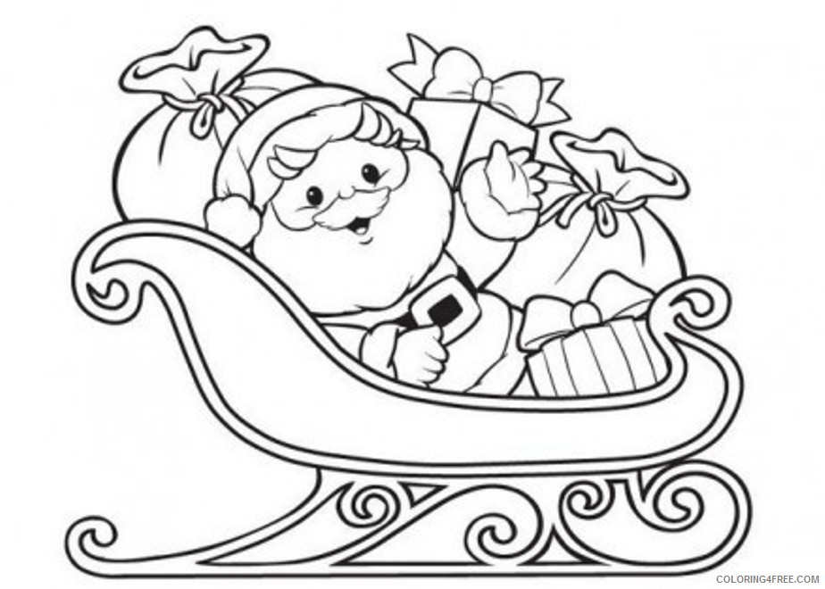 santa claus coloring pages on sleigh Coloring4free