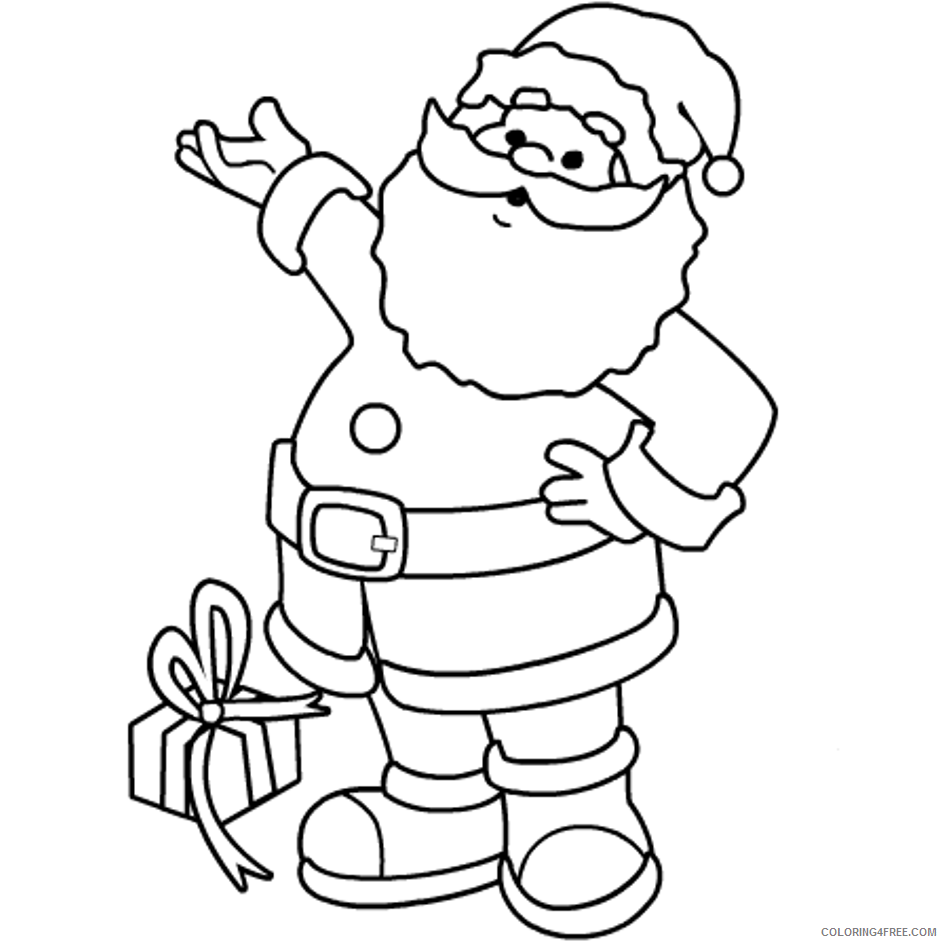 santa claus coloring pages with a gift Coloring4free