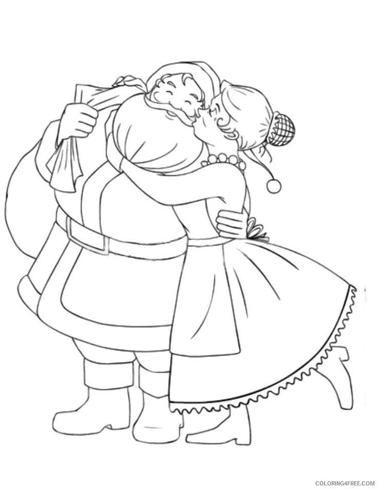 santa claus coloring pages with mrs santa Coloring4free