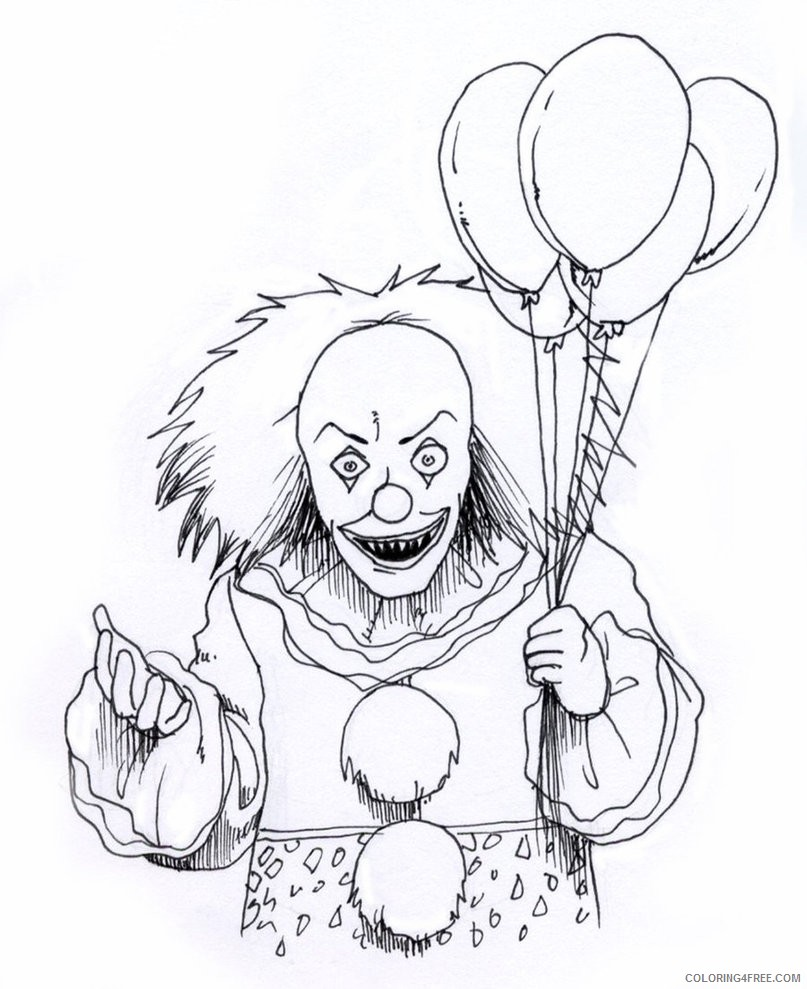scary coloring pages clown Coloring4free