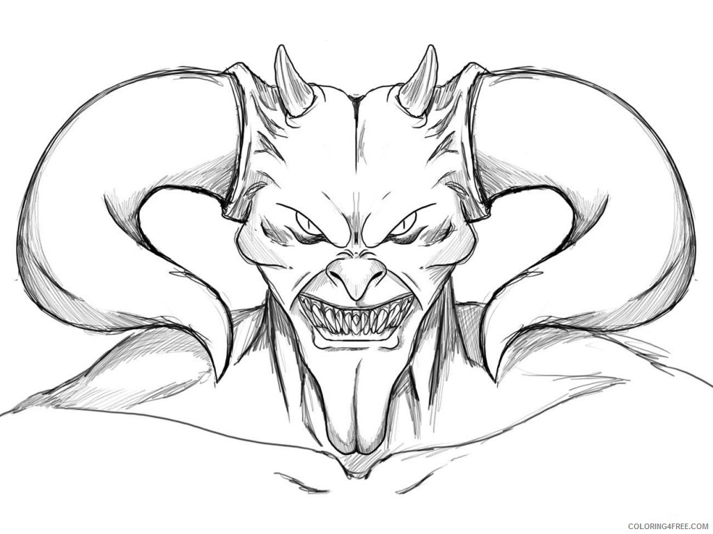 scary coloring pages devil face Coloring4free