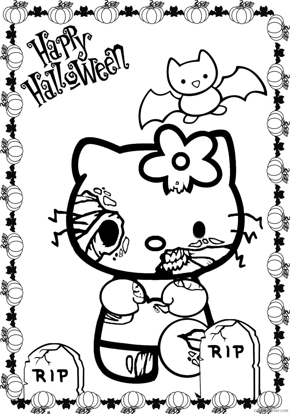 scary coloring pages hello kitty Coloring4free