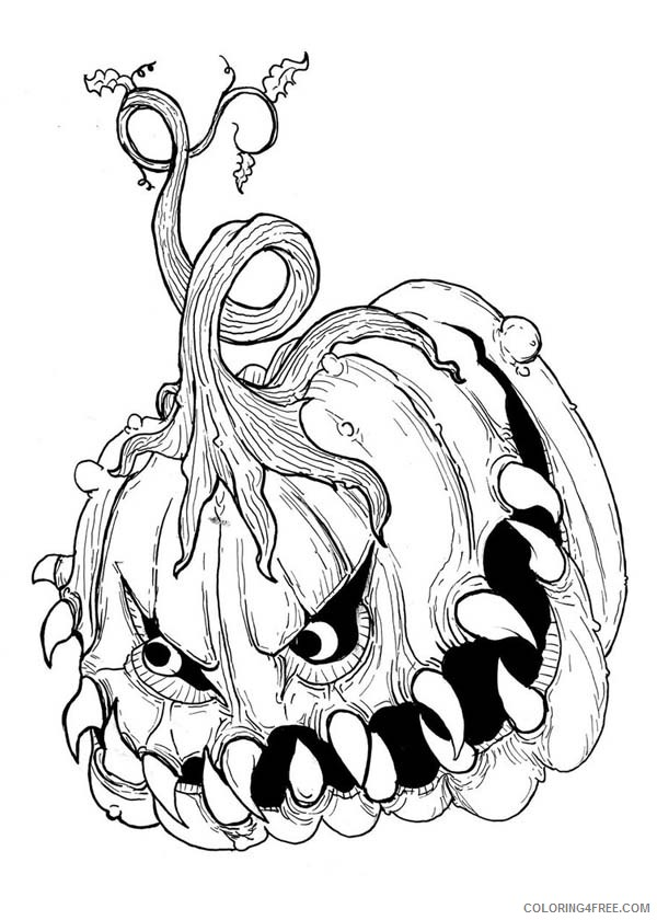 scary coloring pages pumpkin Coloring4free